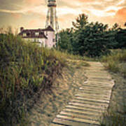 Rawley Point Lighthouse Under Smoldering Skies Poster
