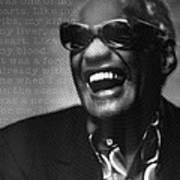 Ray Charles Robinson and Quote Black and Gray Poster
