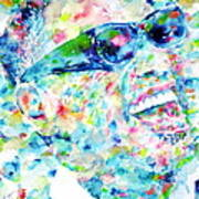 RAY CHARLES - watercolor portrait Poster