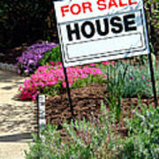 Real Estate For Sale Sign And Garden Poster