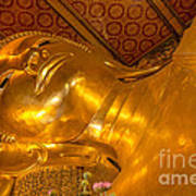 Reclining Buddha Gold Statue In Thailand Poster