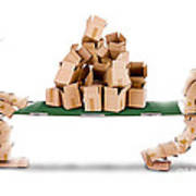 Recycling Boxes By Box Characters And Stretcher Poster