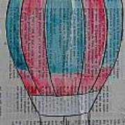 Red And Blue Hot Air Balloon In Paris Fashion Poster