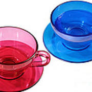 Red And Blue Teacups. Poster