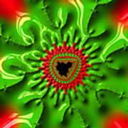 Red And Green Abstract Fractal Art Poster