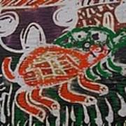 Red And Green Tortoise On Their Way To Bush Poster