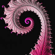 Red And Pink Fractal Spiral Poster