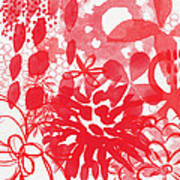 Red And White Bouquet- Abstract Floral Painting Poster