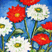 Red And White Flowers With A Blue Sky Poster