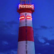 Red And White Lighthouse Shows Neon Poster