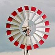 Red And White Windmill Poster