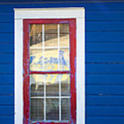 Red And White Window In Blue Wall Poster