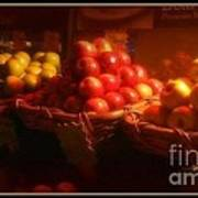 Red And Yellow Apples In Baskets Poster