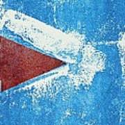 Red Arrow Painted On Blue Wall Poster