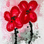 Red Asian Poppies Poster