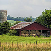 Red Barn And Bales Of Hay Poster