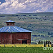 Red Barn And Barbed Wire Poster