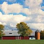 Red Barn And Clouds Poster