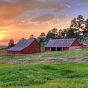 Red Barn At Sunset Poster