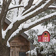 Red Barn Birdhouse On Tree In Winter Poster