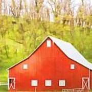 Red Barn Green Hillside Poster