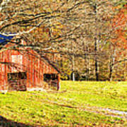 Red Barn In Late Fall Poster