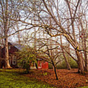 Red Barn In The Smokies Poster