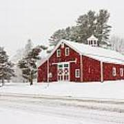 Red Barn Winterscape Poster