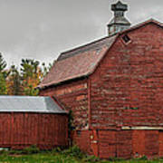 Red Barn With Fall Colors Poster