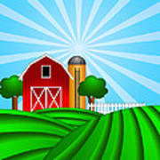 Red Barn With Grain Silo On Green Pasture Illustration Poster