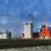 Red Barn With Silos Photo Art 03 Poster