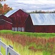 Red Barns At Freehold Poster