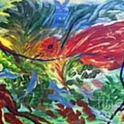 Red Bird In Nest Poster