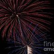 Red Blue Fireworks Poster