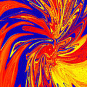 Red Blue Orange Red Yellow Swirl Poster