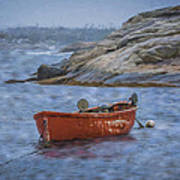 Red Boat In Peggy's Cove Poster