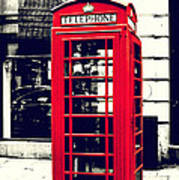 Red British Telephone Booth Poster