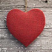 Red Burlap Heart On Vintage Table Poster