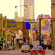 Red Cab On Gerrard Chinatown Morning Toronto City Scape Paintings Canadian Urban Art Carole Spandau Poster