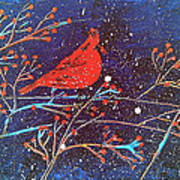 Red Cardinal Bird On Branch Painting Fine Art Print Poster