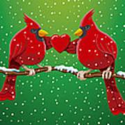 Red Cardinal Bird Pair Heart Christmas Poster by Frank Ramspott