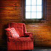 Red Chair In Panelled Room Poster