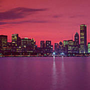 Red Chicago Sunset Poster