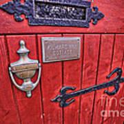 Red Cottage Door Poster