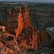Red Dawn Breaking On Spires In Grand Canyon National Park Vertical Poster