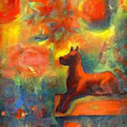 Red Dog In The Garden 2 Poster by Nato  Gomes