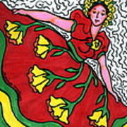 Red Dress With Yellow Roses Poster