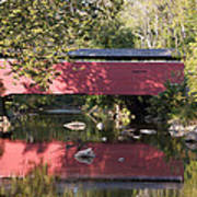 Red Fairhill Covered Bridge Two Poster