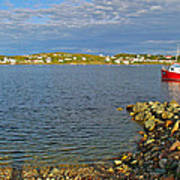 Red Fishing Boat In Twillingate Harbour-nl Poster