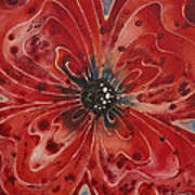 Red Flower 1 - Vibrant Red Floral Art Poster by Sharon Cummings